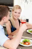 Couple has romantic dinner Royalty Free Stock Photo