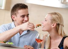Couple has romantic supper Stock Photos