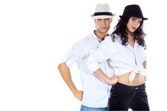 Couple in hats Stock Photos