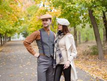 Couple in hats royalty free stock photo