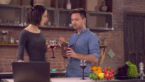 Couple have a date in flat. stock video footage