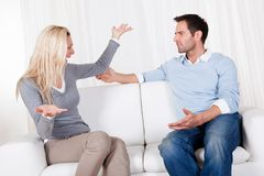 Couple have fallen out over a disagreement Stock Images