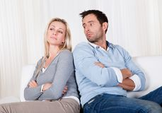 Couple have fallen out over a disagreement Stock Photos