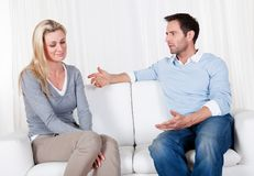 Couple have fallen out over a disagreement Royalty Free Stock Image