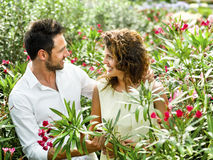 Couple have fun choosing flower pots in a greenhouse. Beautiful couple have fun choosing flower pots in a greenhouse Stock Photo