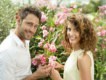 Couple have fun choosing flower pots in a greenhouse. Couple have fun choosing flower pots in spring Royalty Free Stock Photo