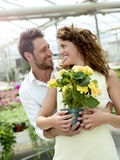 Couple have fun choosing flower pots in a greenhouse. In spring Stock Photo