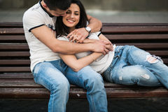 Couple have fun in the city Royalty Free Stock Image