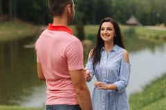 Couple have fun, smile and dancing. Cloudy Royalty Free Stock Images