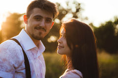 Couple have fun on sunset Royalty Free Stock Photos