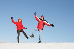 Couple have fun in winter Royalty Free Stock Photos