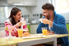 Pleasant morning in kitchen together stock photos