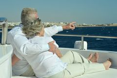 Couple have a ride in a boat on sea Royalty Free Stock Photography