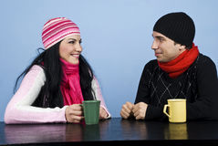 Couple Having A Funny Conversation Royalty Free Stock Photo