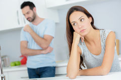 Couple having argument in kitchen. Couple having an argument in the kitchen Stock Images