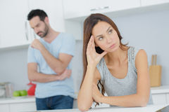 Couple having argument in kitchen. Couple having an argument in the kitchen Royalty Free Stock Images