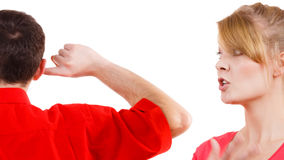Couple having argument. Man and woman in disagreement Royalty Free Stock Photography