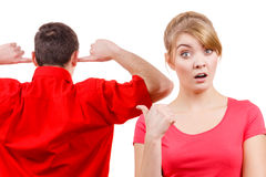Couple having argument. Man and woman in disagreement Stock Images