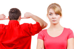 Couple having argument. Man and woman in disagreement Royalty Free Stock Image