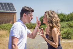 Couple having argument in quarrel Stock Image