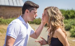 Couple having argument in quarrel Stock Images