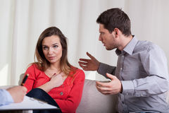Couple having argument on therapy royalty free stock photos