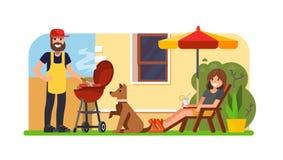 Couple having a bbq on backyard. Vector flat illustration Royalty Free Stock Image