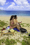 Couple having a beach barbecue Royalty Free Stock Image