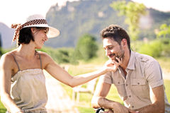 Couple having a bicycles ride into the nature Stock Photo