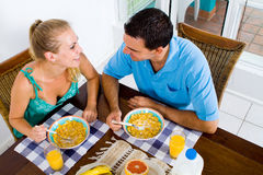 Couple having breakfast Stock Image