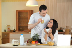 Couple having breakfast Royalty Free Stock Photography