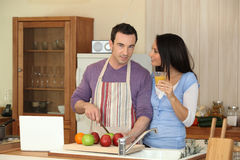 Couple having breakfast Stock Images