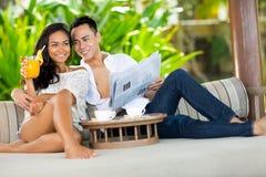 Couple having breakfast in luxury resort Stock Photos