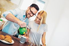 Couple having breakfast in the morning Royalty Free Stock Image