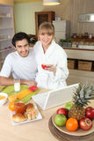 Couple having breakfast together Royalty Free Stock Image