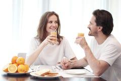 Couple having breakfast royalty free stock photo