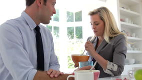 Couple Having Breakfast Together Before Leaving For Work stock video footage