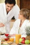 Couple having breakfast together Royalty Free Stock Photography