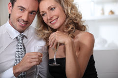 Couple having champagne Stock Image