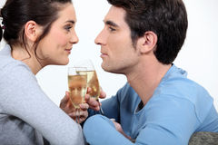 Couple having champagne Stock Photo