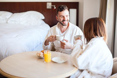 Couple having coffee in the morning Stock Image
