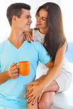 Couple having coffee together royalty free stock photo
