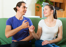 Couple having conciliation at home Stock Photos