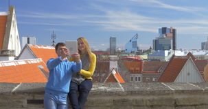 Couple Having a Date in Historic City of Tallinn stock video footage