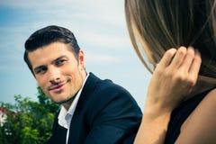 Couple having date outdoors Stock Photo