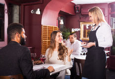 Couple having date in restaurant Royalty Free Stock Images