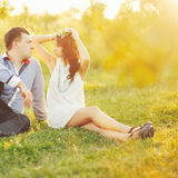 Couple having date, spending great time in garden. Stock Photography