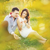 Couple having date, spending great time in garden. Stock Images