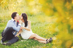Couple having date, spending great time in garden. Stock Image