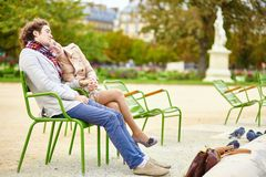 Couple having a date in the Tuileries garden Stock Image